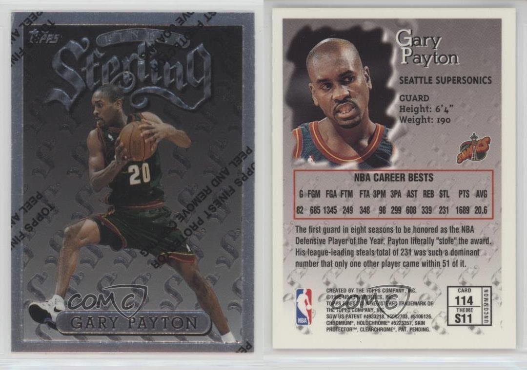 1996-97-Topps-Finest-114-Gary-Payton-Seattle-Supersonics-Basketball-Card
