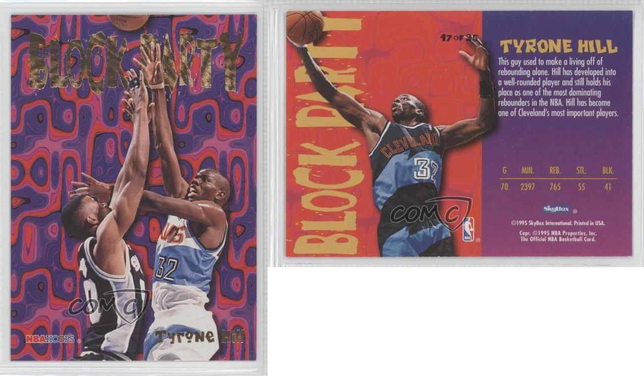 1995 96 NBA Hoops Block Party 17 Tyrone Hill Cleveland Cavaliers