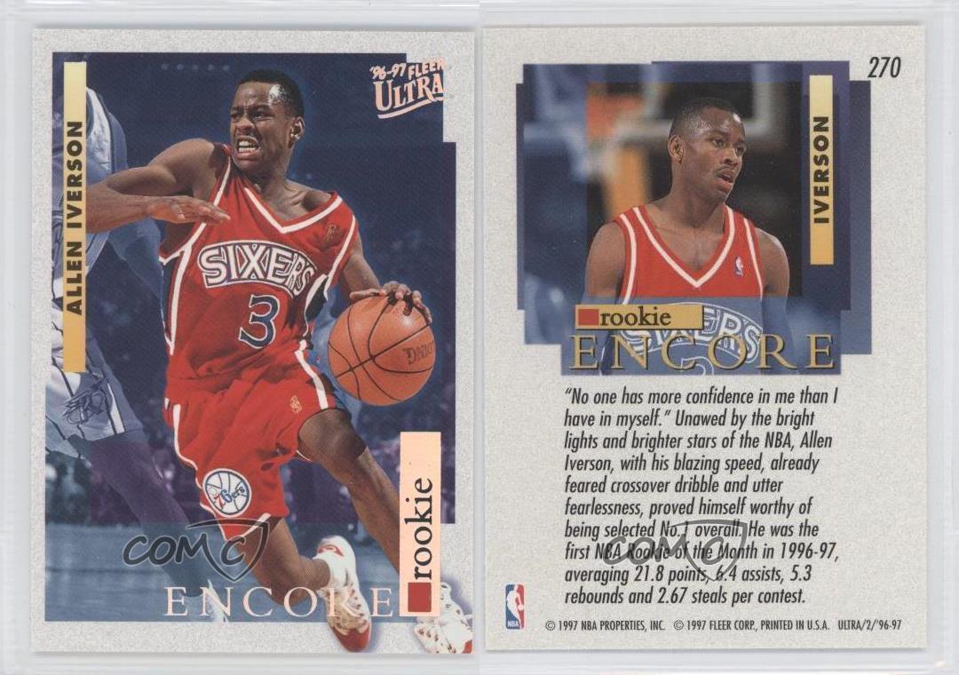 1996 Fleer Ultra #270 Allen Iverson Philadelphia 76ers RC ...