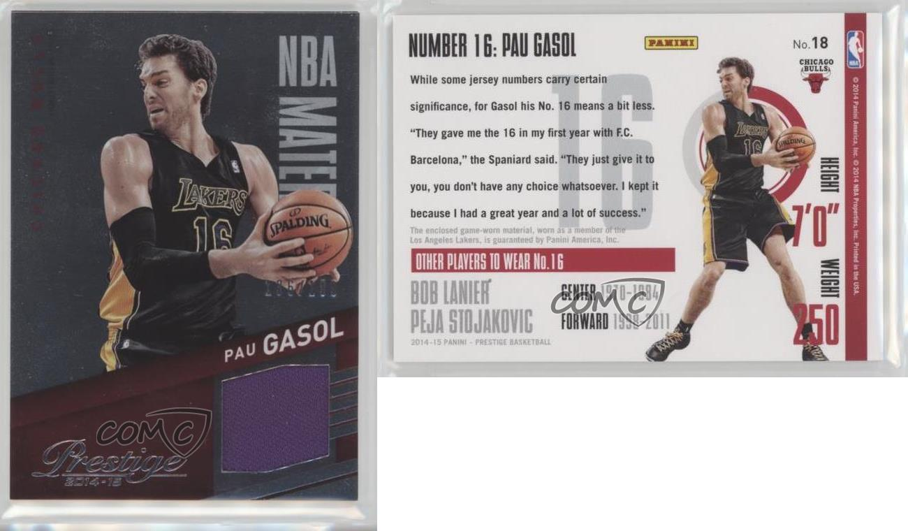 2014-15-Panini-Prestige-NBA-Materials-Plus-18-Pau-Gasol-Chicago-Bulls-Card