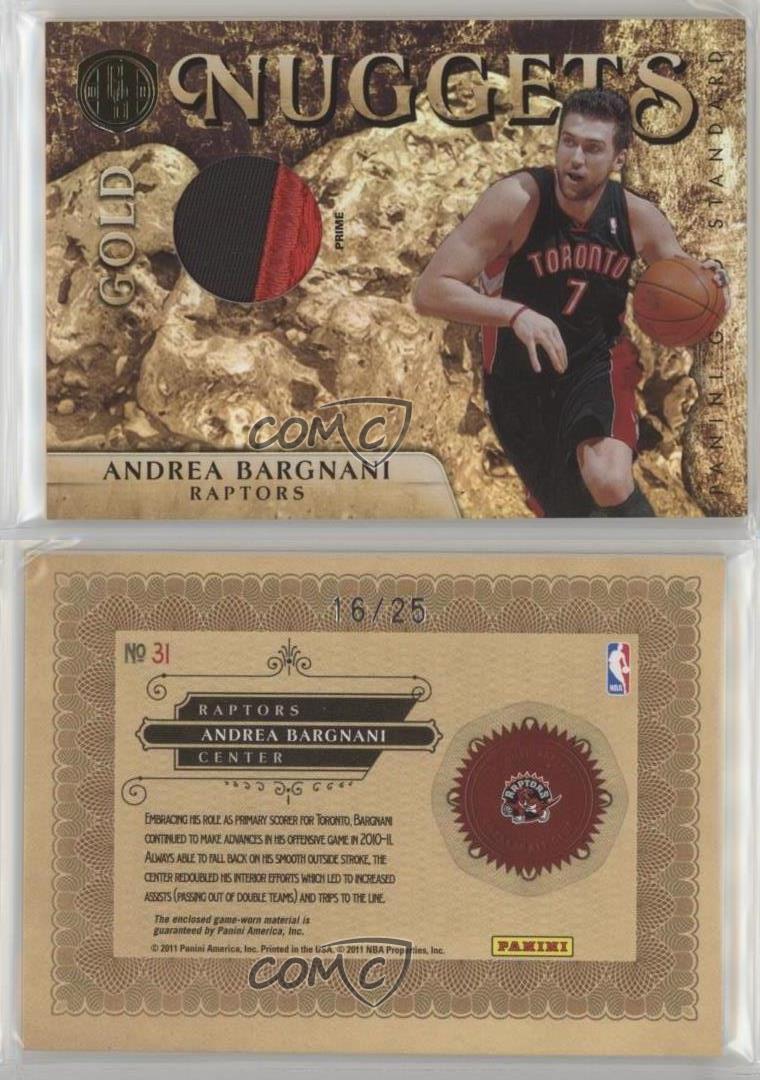2010-11-Panini-Gold-Standard-Nuggets-Memorabilia-Prime-31-Andrea-Bargnani-Card