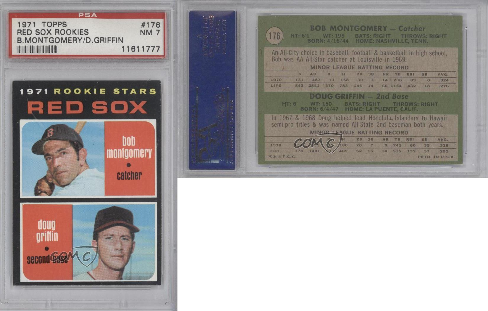 1971 Topps #176 Bob Montgomery Doug Griffin PSA 7 NM Boston Red Sox RC Rookie