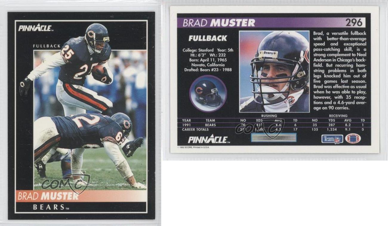 1992 pinnacle 296 brad muster chicago bears football card ebay. Black Bedroom Furniture Sets. Home Design Ideas