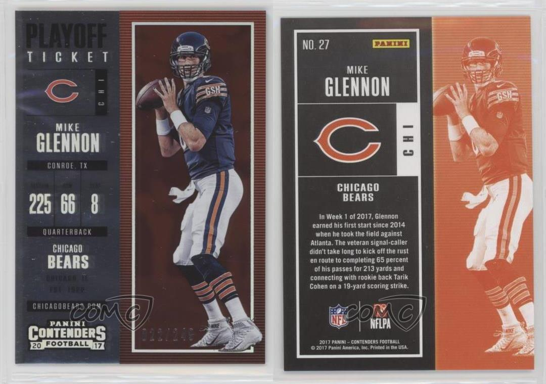 2017-Panini-Contenders-Playoff-27-Season-Ticket-Mike-Glennon-Chicago-Bears-Card