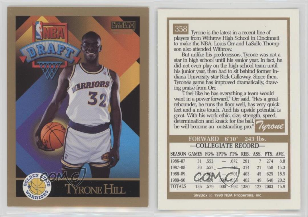 1990 91 Skybox 358 Tyrone Hill Golden State Warriors RC Rookie