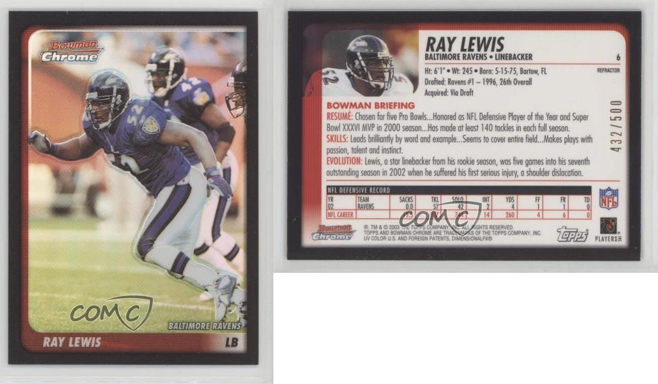 2003-Bowman-Chrome-Refractor-6-Ray-Lewis-Baltimore-Ravens-Football-Card