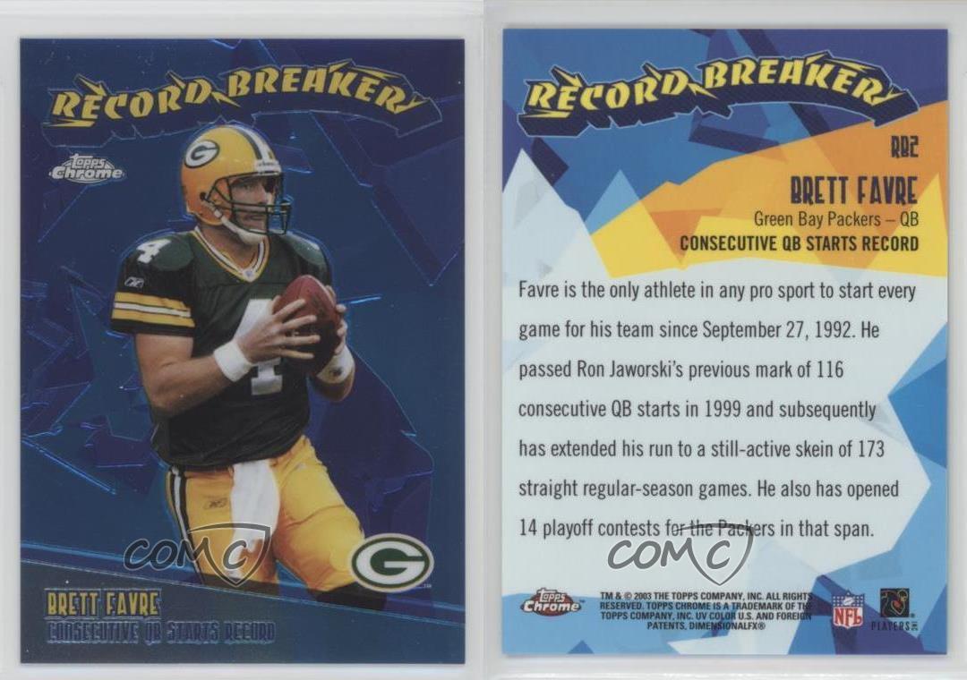 2003-Topps-Chrome-Record-Breakers-RB2-Brett-Favre-Green-Bay-Packers-Card