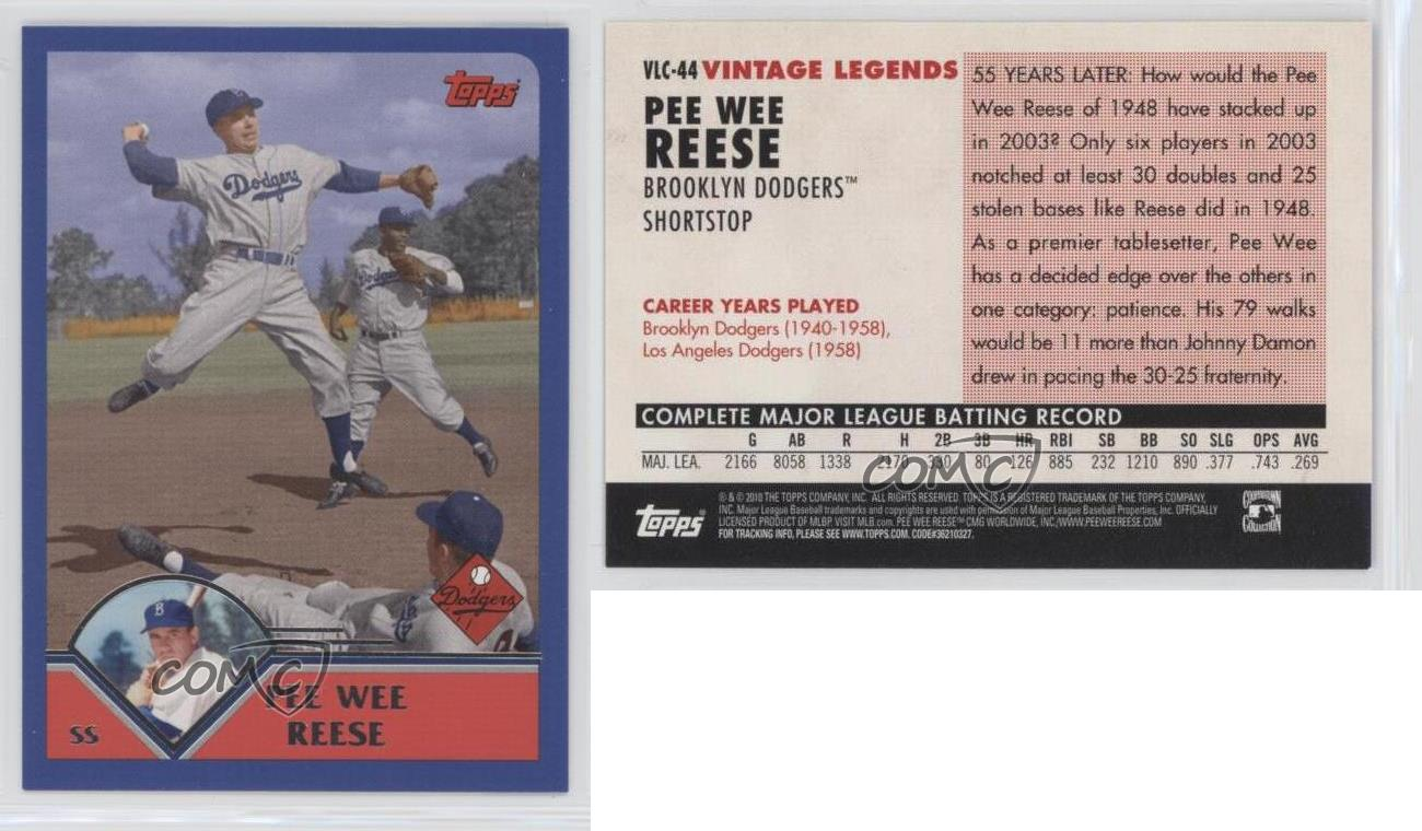 topps vintage legends collection vlc pee wee reese brooklyn dodgers card ebay