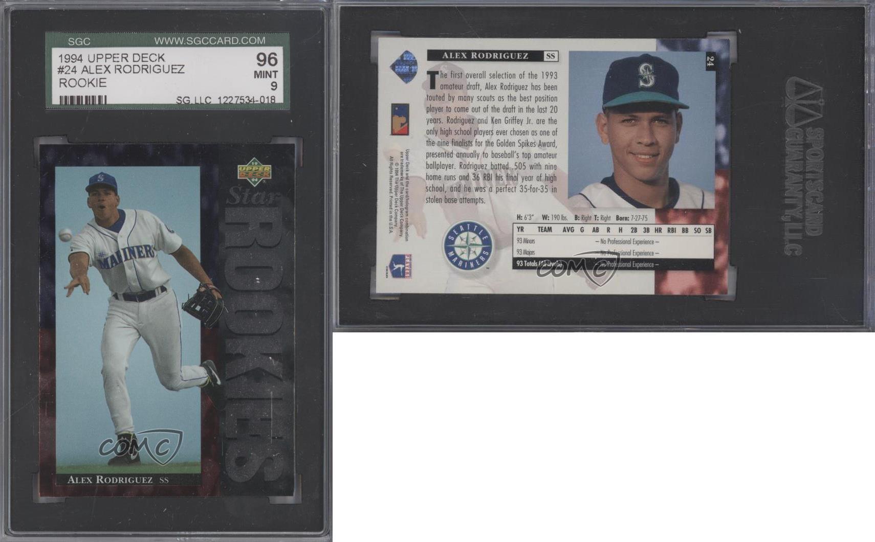 Honkbal 1994 Upper Deck #24 Alex Rodriguez PSA 9 MINT Seattle Mariners RC Baseball Card Verzamelingen