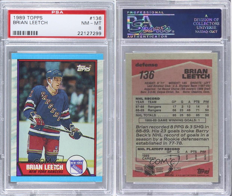 1989-90 Topps #136 Brian Leetch PSA 8 New York Rangers RC