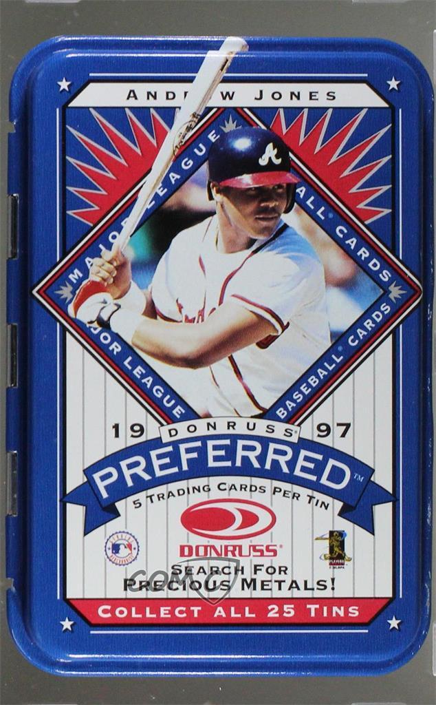 Details About 1997 Donruss Preferred Tin Packs Andruw Jones Atlanta Braves Baseball Card