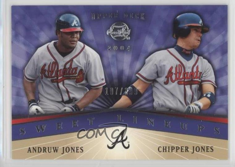 Verzamelkaarten: sport 2004 Upper Deck Sweet Spot 208 Chipper Jones Andruw Atlanta Braves Baseball Card Honkbal