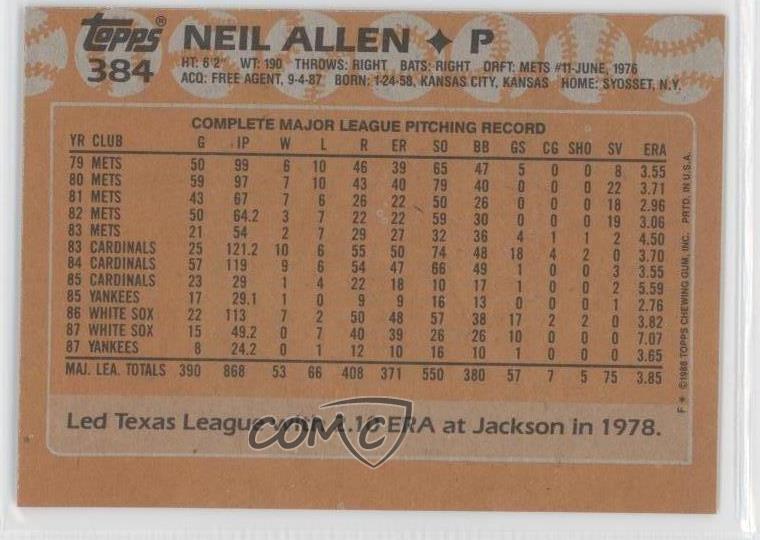 Details About 1988 Topps Blank Front 384 Neil Allen New York Yankees Baseball Card
