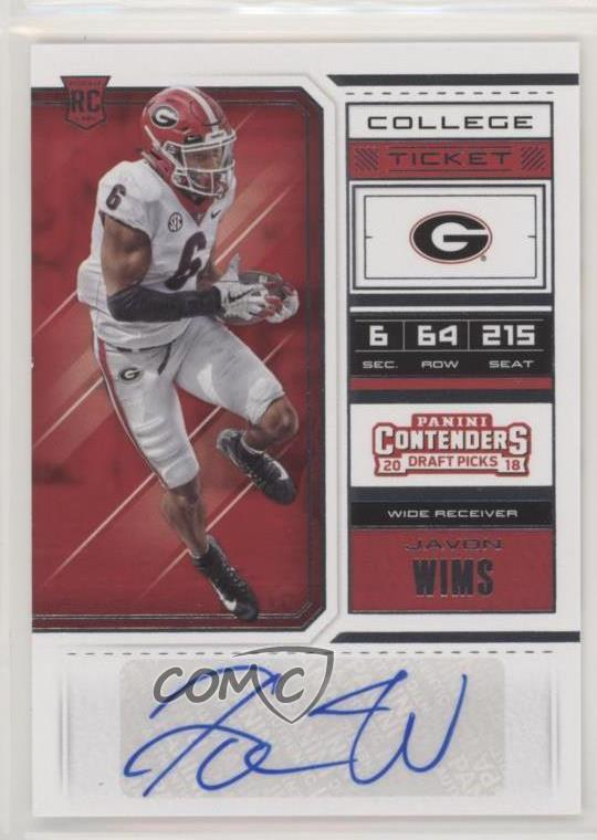 competitive price 6cd02 d55c3 Details about 2018 Panini Contenders Draft Picks #194 College Ticket -  Javon Wims Auto Rookie