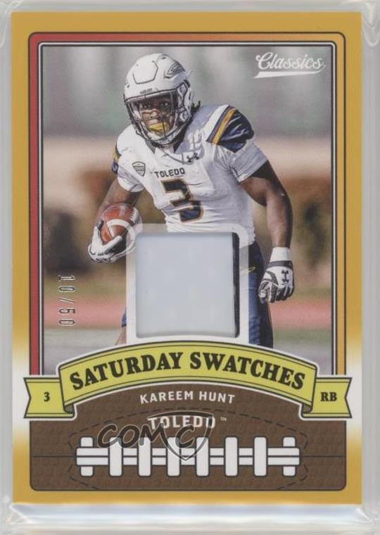 online store f4ef6 42156 Details about 2018 Panini Classics Saturday Swatches Prime/50 #17 Kareem  Hunt Toledo Rockets