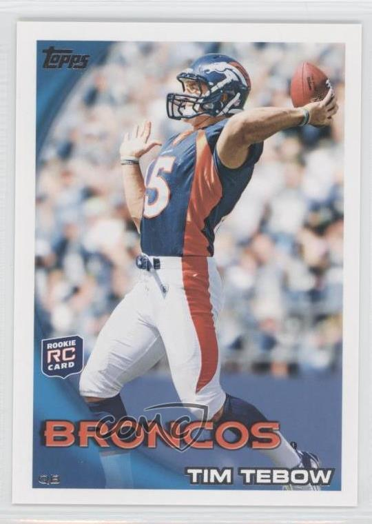 Details About 2010 Topps 4403 Tim Tebow Throwing Ball Denver Broncos Rc Rookie Card
