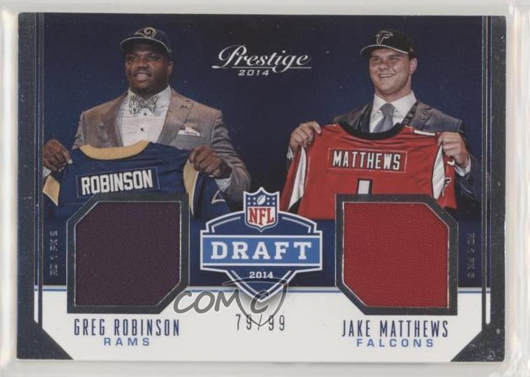 new products c7fd2 39488 Details about 2014 Panini Prestige Rookie Draft Jerseys Dual/99 #3 Greg  Robinson Jake Matthews