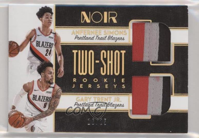 sports shoes 821d5 cfe84 Details about 2018 Panini Noir Two-Shot Rookie Jerseys Prime/25 Gary Trent  Jr Anfernee Simons