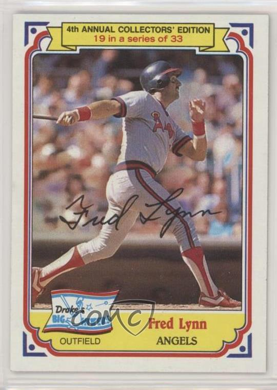 Details about 1984 Topps Drake's Big Hitters #19 Fred Lynn Los Angeles  Angels Baseball Card