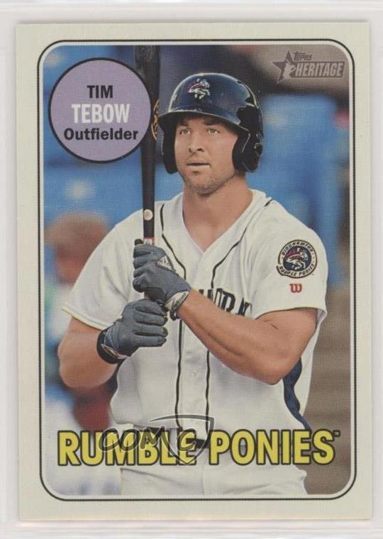 Details About 2018 Topps Heritage Minor League Edition Glossy 180 Tim Tebow Binghamton Mets