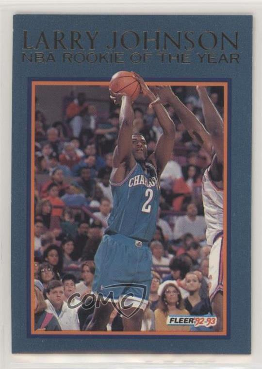 Details About 1992 93 Fleer Rookie Of The Year 4 Larry Johnson Charlotte Hornets Card