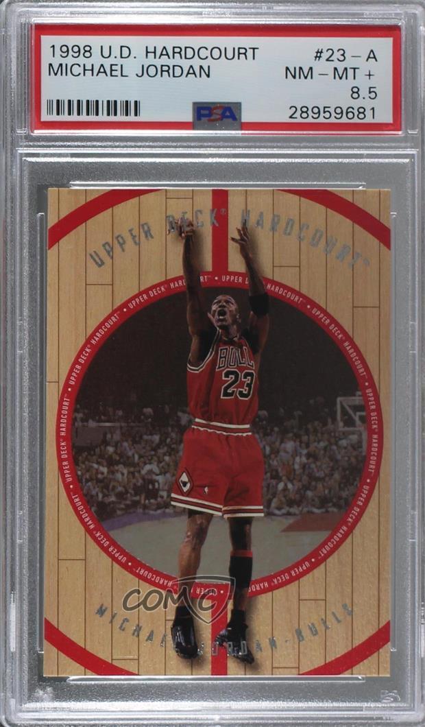 670751244fe74 Details about 1998 Upper Deck Hardcourt #23-A Michael Jordan PSA 8.5 NM-MT+  Chicago Bulls Card