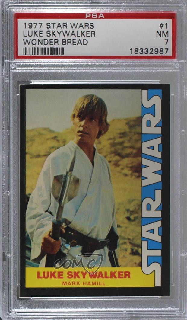 981cdf4af0c Details about 1977 Wonder Bread Star Wars  1 Luke Skywalker (Mark Hamill)  PSA 7 NM Card 4kn