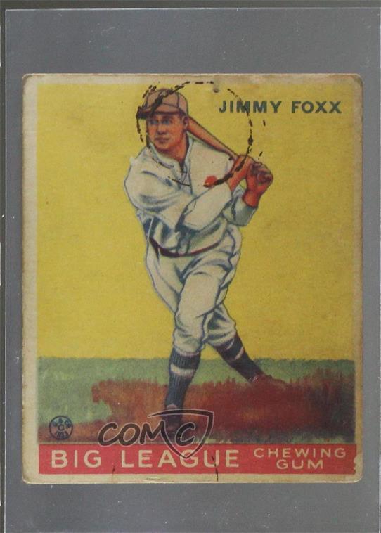 Details About 1933 Goudey Big League Chewing Gum R319 154 Jimmie Foxx Jimmy Rc Rookie Card