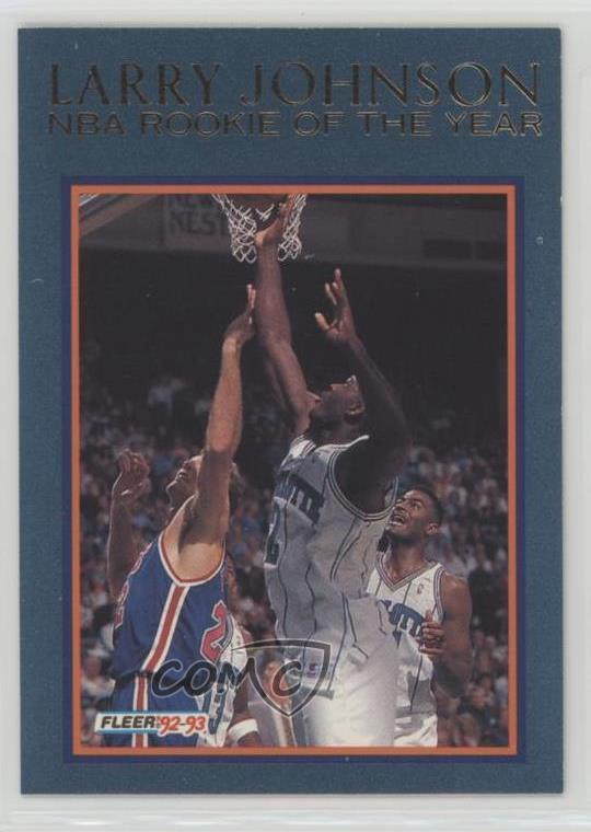 Details About 1992 Fleer Rookie Of The Year 9 Larry Johnson Charlotte Hornets Basketball Card