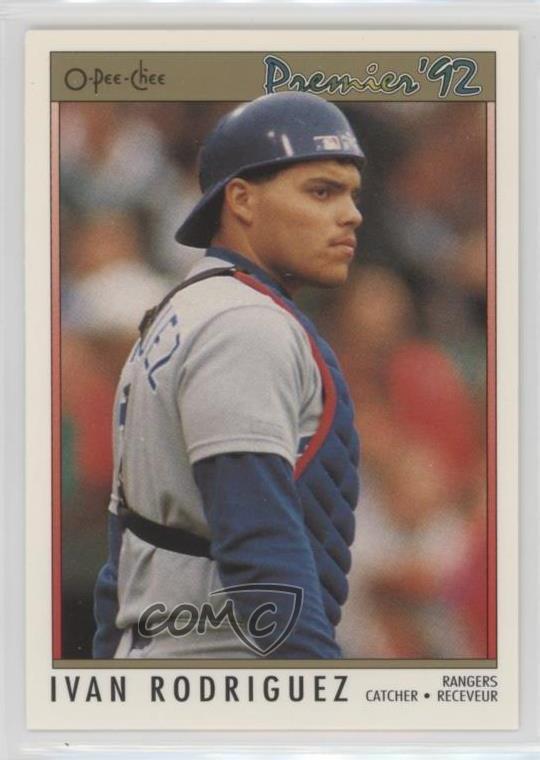 Details About 1992 O Pee Chee Premier 55 Ivan Rodriguez Texas Rangers Baseball Card