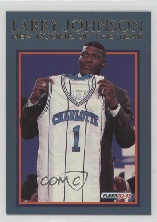 Details About 1992 93 Fleer Rookie Of The Year 1 Larry Johnson Charlotte Hornets Card