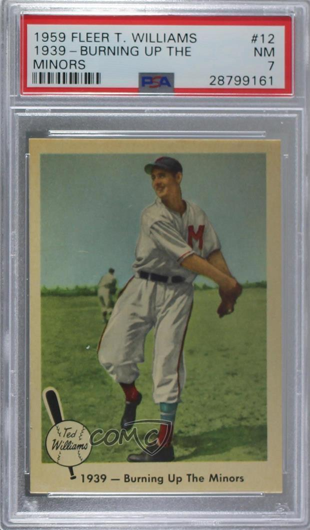 Details About 1959 Fleer 12 Ted Williams 1939 Burning Up The Minors Psa 7 Nm Baseball Card