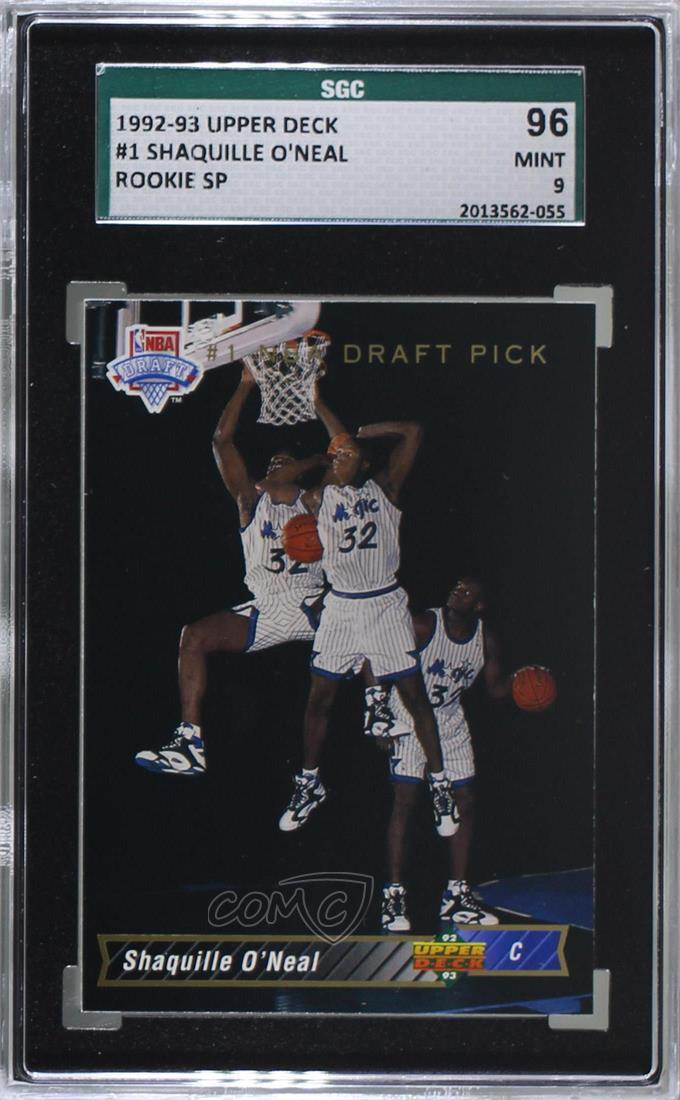 Details About 1992 93 Upper Deck 1 Shaquille Oneal Sgc 9 Mint Orlando Magic Rc Rookie Card