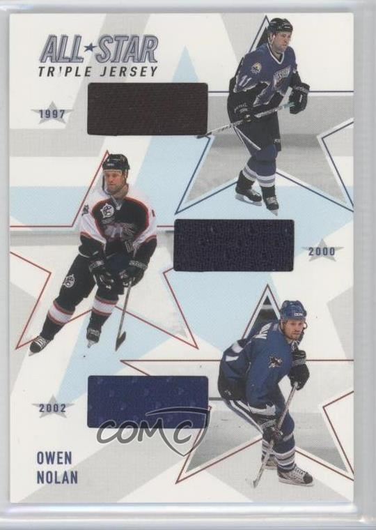 Details about 2002 In the Game Be A Player Memorabilia All-Star Triple  Jerseys Owen Nolan Card