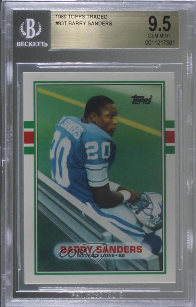 Details About 1989 Topps Traded 83t Barry Sanders Bgs 95 Gem Mint Detroit Lions Rc Rookie