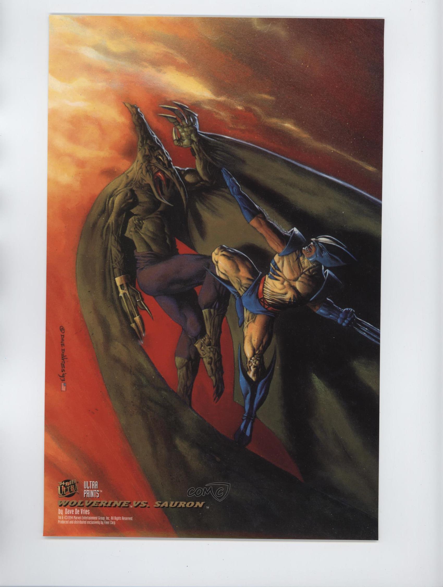 Wolverine vs Sauron by Dave DeVries 1994 NEW Marvel Comics Fleer Ultra Prints