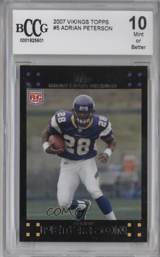 Details About 2007 Topps Minnesota Vikings 5 Adrian Peterson BCCG Mint Rookie Football Card