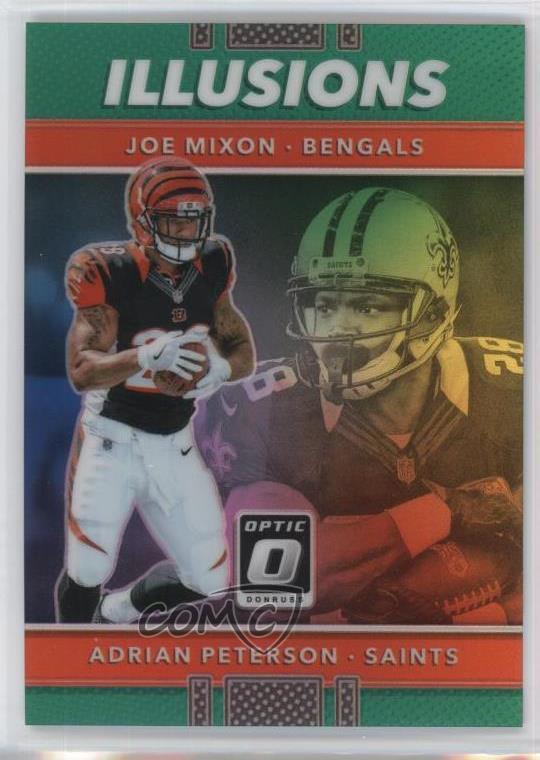 Details About 2017 Donruss Optic Illusions Green5 15 Adrian Peterson Joe Mixon Rookie Card
