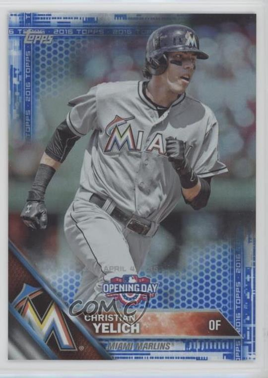 Details About 2016 Topps Opening Day Blue Od 141 Christian Yelich Miami Marlins Baseball Card