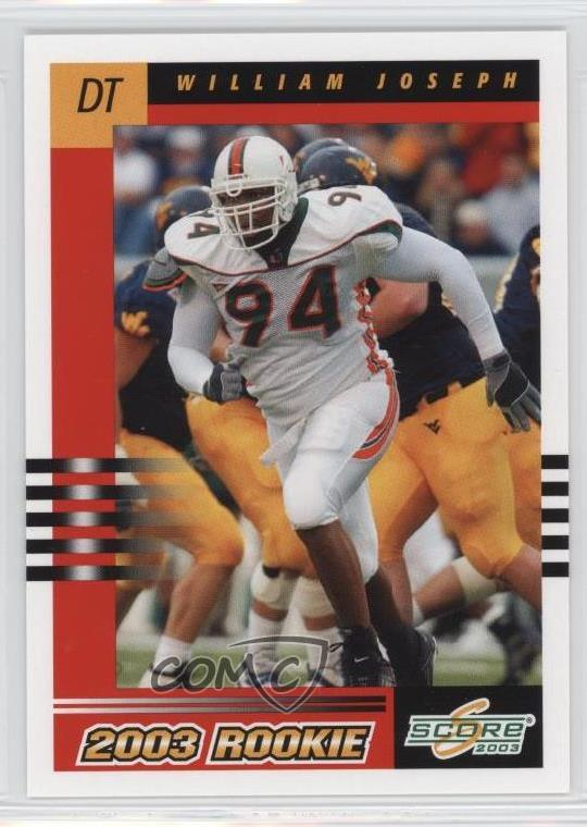 2003 Score 319 William Joseph New York Giants Miami Hurricanes
