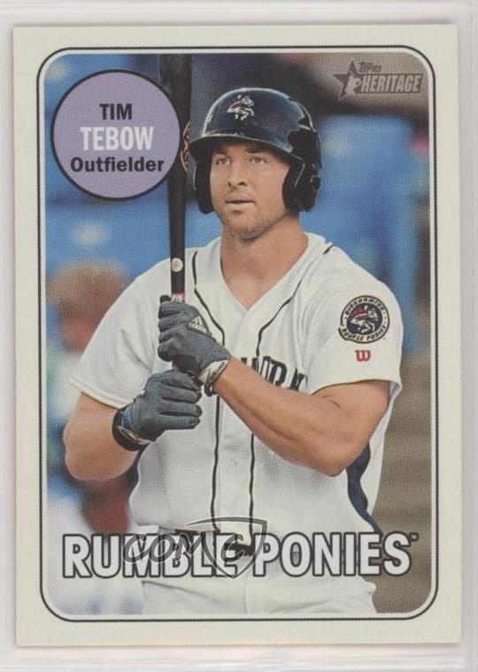 factory price 0c2ac c5570 Details about 2018 Topps Heritage Minor League Edition Tim Tebow (Circle  Color Variation) Card