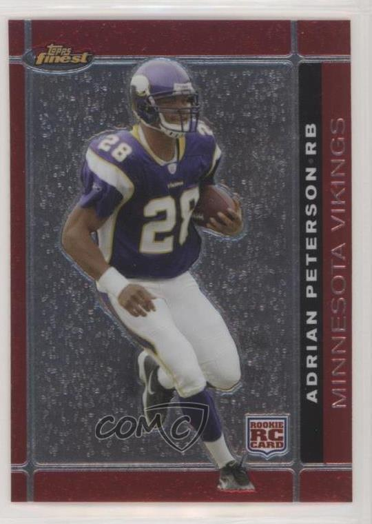 Details About 2007 Topps Finest 112 Adrian Peterson Minnesota Vikings RC Rookie Football Card