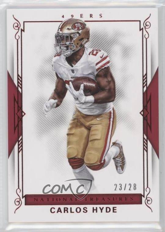 buy online 40919 dbf8c Details about 2017 Panini National Treasures Red Jersey Number/28 #21  Carlos Hyde Card