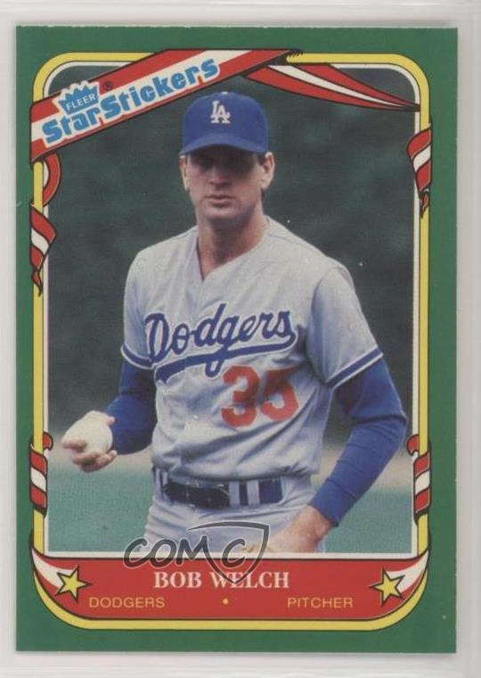Details About 1987 Fleer Star Stickers 121 Bob Welch Los Angeles Dodgers Baseball Card