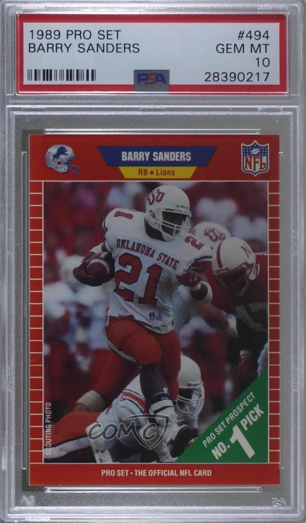 Details About 1989 Pro Set 494 Barry Sanders Psa 10 Gem Mt Detroit Lions Rc Rookie Card