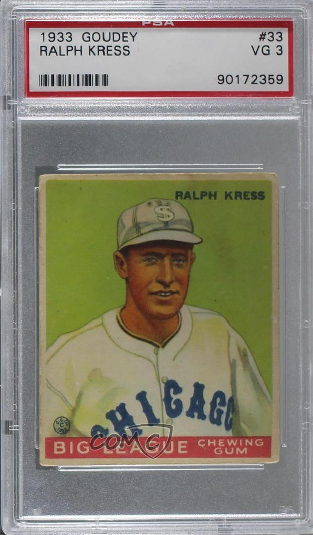 Details About 1933 Goudey Big League Chewing Gum R319 33 Ralph Kress Psa 3 Vg Rc Rookie Card