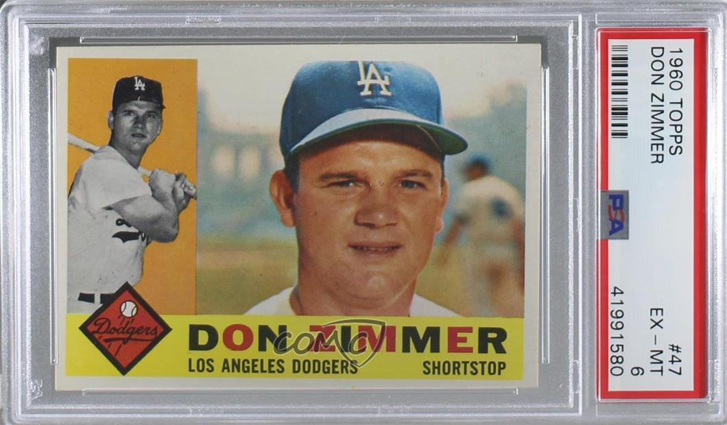 Details About 1960 Topps 47 Don Zimmer Psa 6 Ex Mt Los Angeles Dodgers Baseball Card