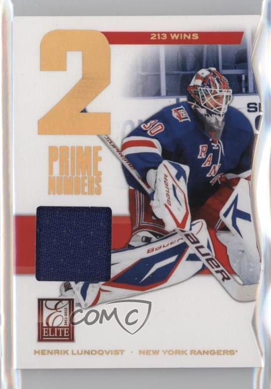 2011 12 Panini Elite Prime Numbers Jerseys 21 Henrik Lundqvist New
