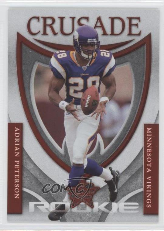 Details About 2007 Leaf Rookies Stars Rookie Crusade Red Rc 19 Adrian Peterson Football Card