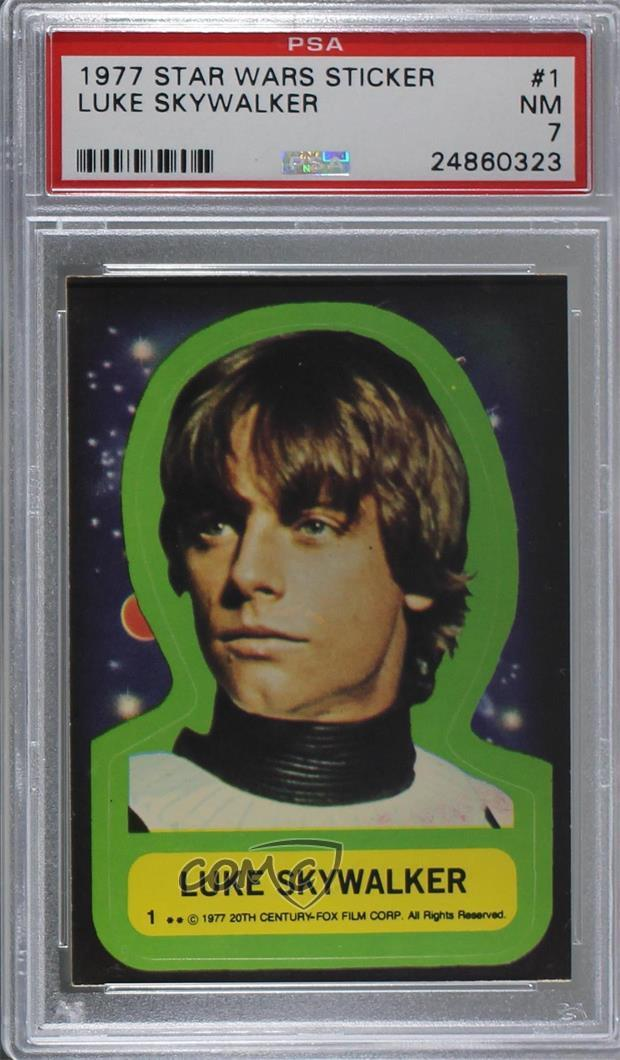 13a4bbc72d1 Details about 1977 Topps Star Wars Stickers  1 Luke Skywalker PSA 7 NM Non-Sports  Card 4kn